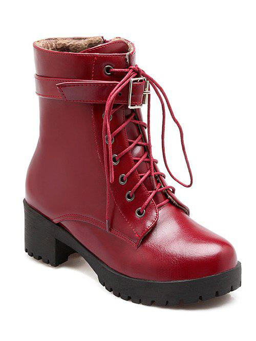 Fashionable Lace-Up and Buckle Design Women's Short Boots - WINE RED 37