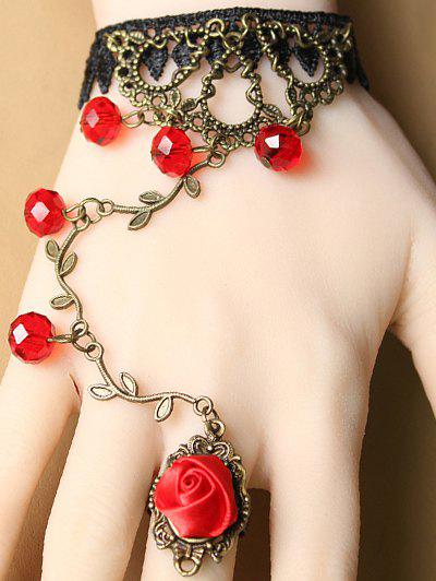 Stylish Filigree Branch Lace Bracelet with Rose Ring - RED