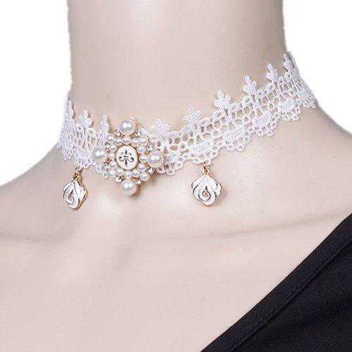 Flower Faux Pearl Lace Choker Necklace - WHITE