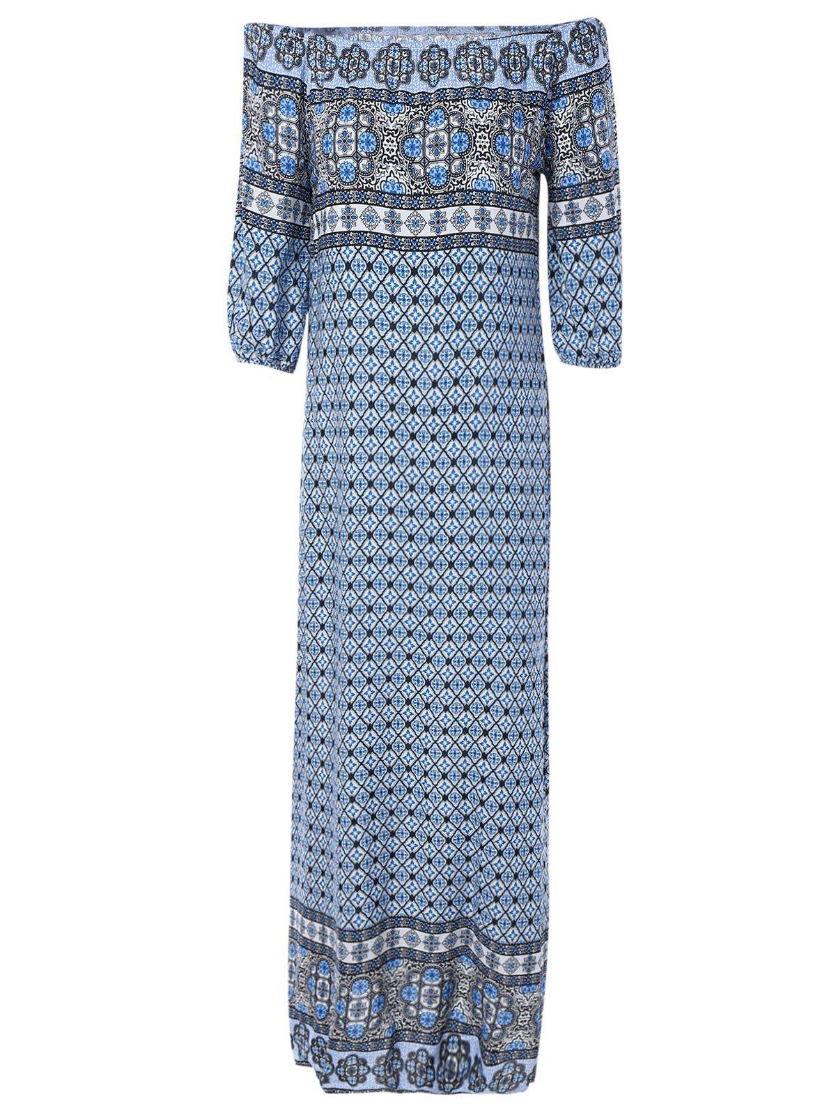 Off The Shoulder Ethnic Print Dress - COLORMIX ONE SIZE(FIT SIZE XS TO M)