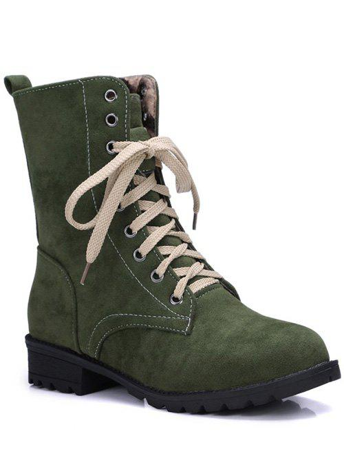 Trendy Lace-Up and Solid Color Design Womens Combat BootsShoes<br><br><br>Size: 39<br>Color: GREEN