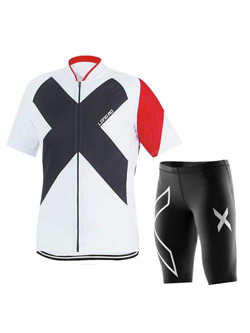 Active Black Shorts + Cross Printed Bike Jerseys Twinset For Men - WHITE 3XL