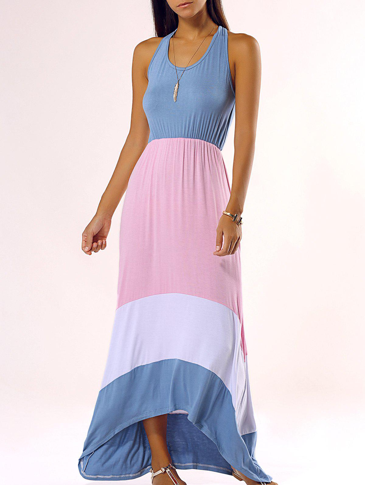 Stylish Sleeveless Color Block Dovetail Dress - COLORMIX XL