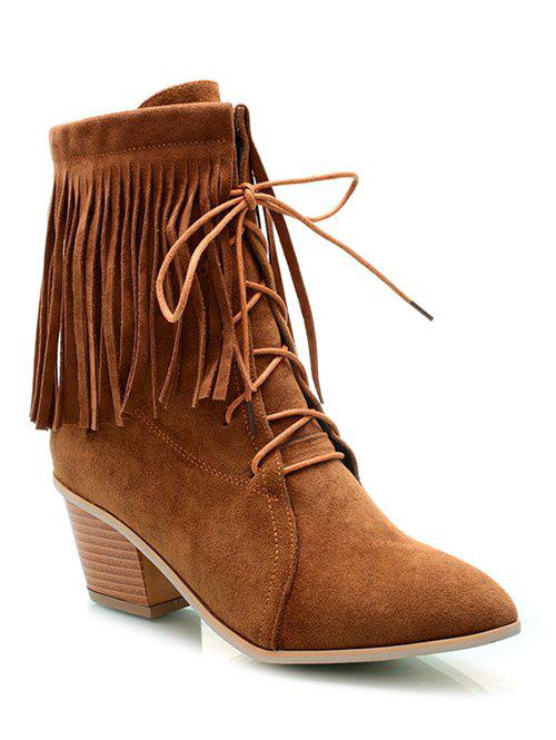 Stylish Tie Up and Fringe Design Women's Short Boots - BROWN 39