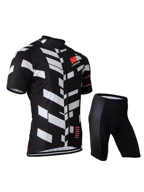 Active Black Shorts + Color Block Bike Jerseys Twinset For Men
