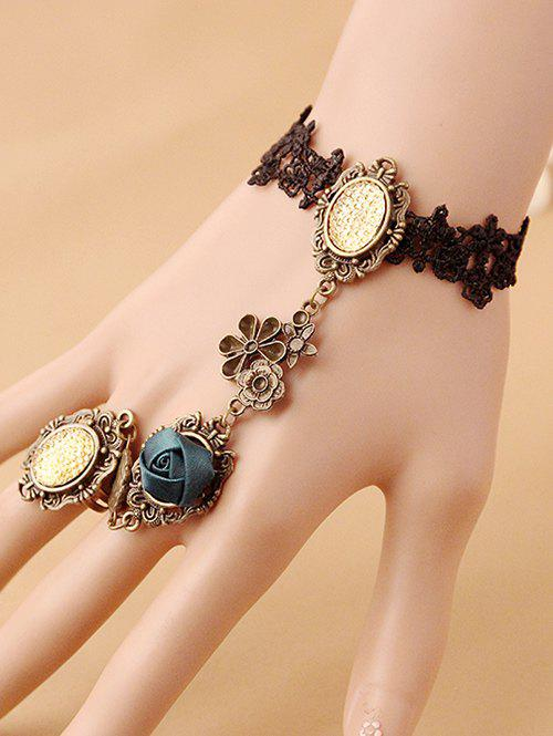 Filigree Flower Lace Bracelet with Ring - COLORMIX