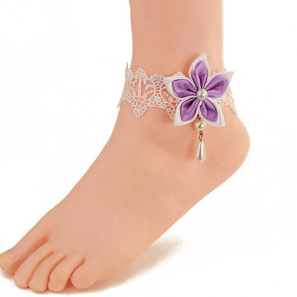 Fresh Style White Lace Faux Pearl Bauhinia Anklet For Women - WHITE / PURPLE