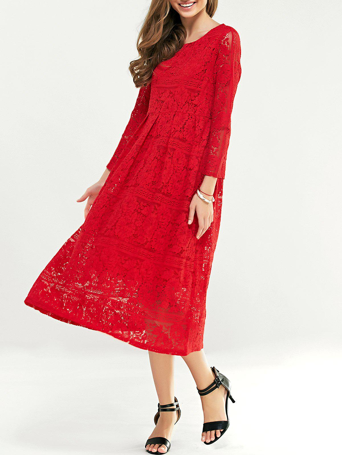 Lace Tea Length Long Sleeve Party Dress - RED 4XL