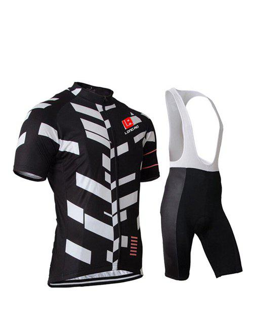 Active Black Bibshort + Short Sleeves Color Blocks Bike Jerseys Twinset For Men - BLACK 3XL