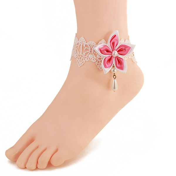 Fashional White Lace Faux Pearl Pink Flower Anklet For Women - PINK/WHITE