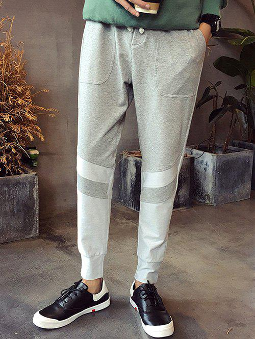 s 'Lace-Up Spliced ​​Design Plus Pieds Taille Beam Hommes  Jogger Pantalon - gris 4XL