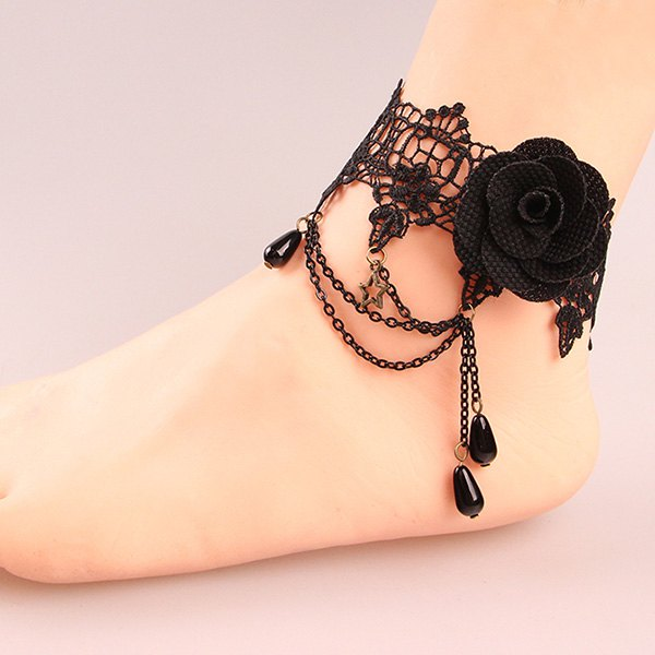 Punk Style Black Lace Crochet Rose Charm Layered Anklet for Women - BLACK