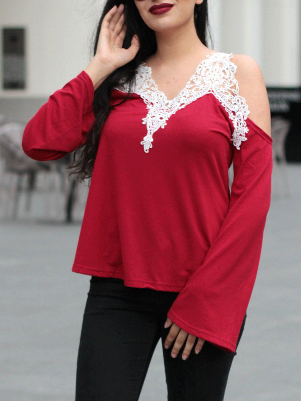 Trendy Long Sleeve V-Neck Spliced Cut Out Women's T-Shirt - RED S