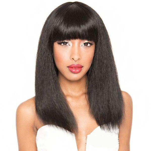 Faddish Women's Long Human Hair Yaki Straight Full Bang Capless Wig - JET BLACK