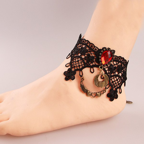 Delicate Black Lace Crochet Teardrop Heart Charm Anklet For Women - BLACK