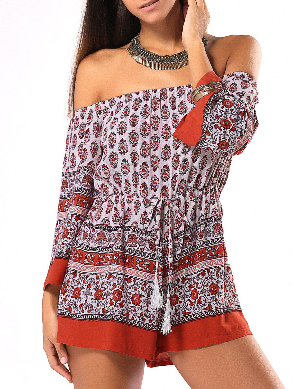 Ethnic Style Tribal Pattern Strappy Romper - RED XL