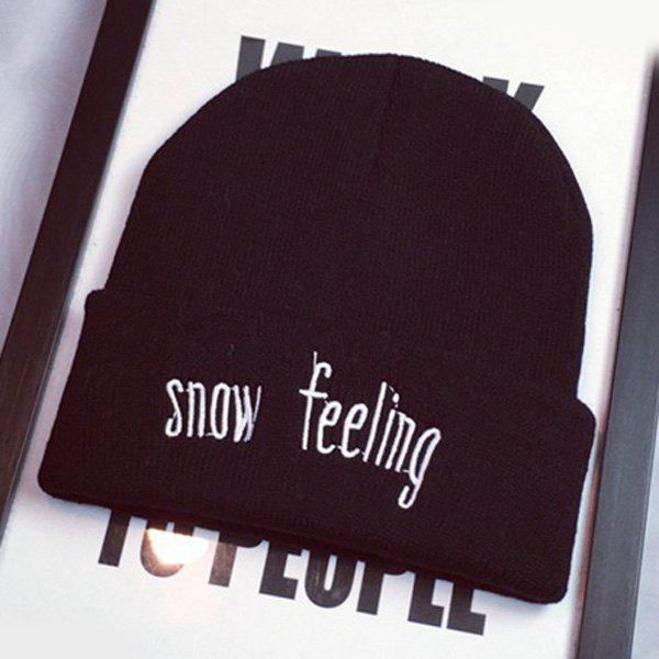 Stylish Warm Letters Embroidery Flanging Women's Elastic Knitted Beanie - BLACK