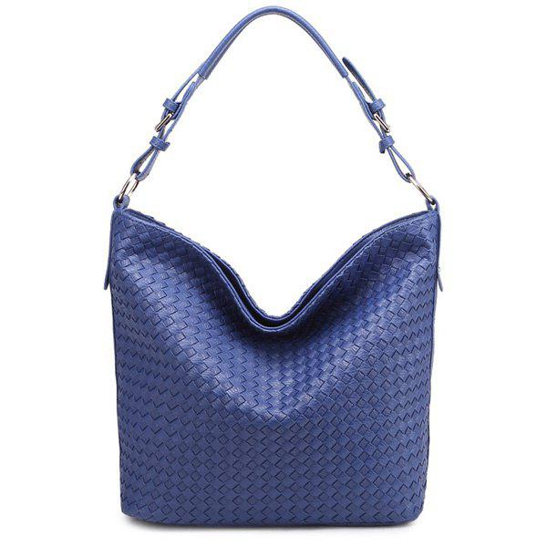 Casual Weaving and Blue Design Women's Shoulder Bag - SAPPHIRE BLUE