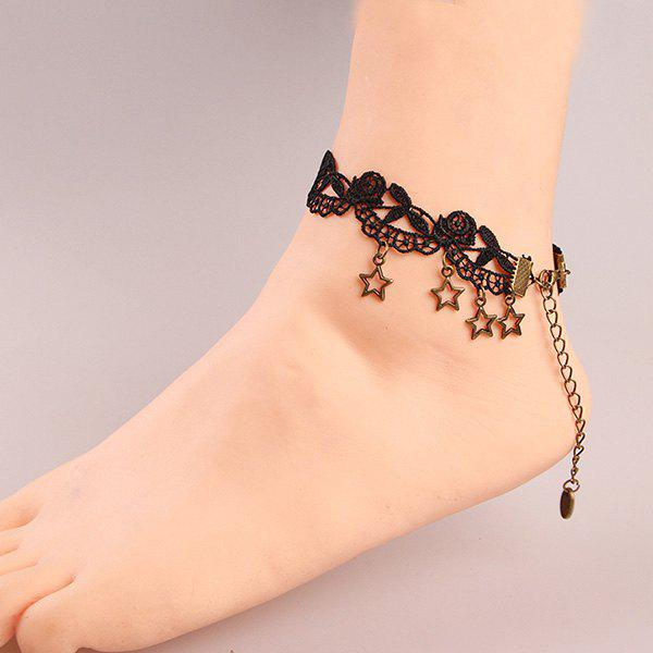 Trendy Black Lace Crochet Flower Cut Out Star Charm Anklet For Women - BLACK