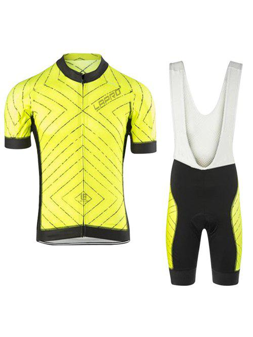 Chic Striped Short Sleeves Jacket + Spliced Bibshort Bike Jerseys Twinset For Men - YELLOW 3XL