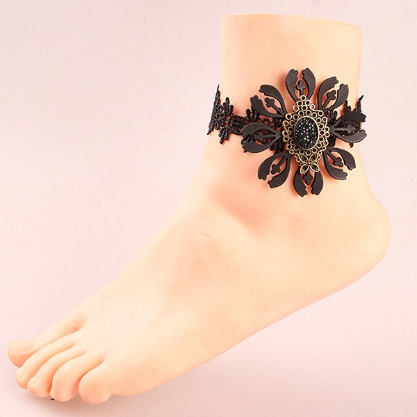 Vintage Cut Out Floral Etched Geometric Anklet For Women - BLACK