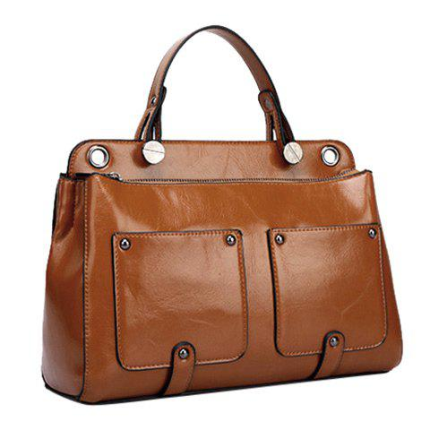 Trendy Stitching and Metal Design Women's Tote Bag - BROWN