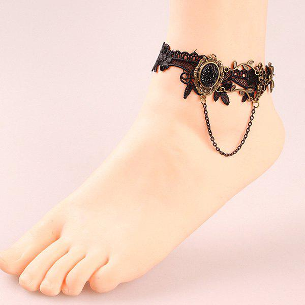 Stylish Leaf Bowknot Rhinestone Black Lace Crochet Anklet For Women
