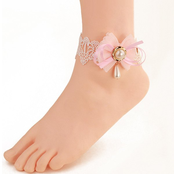 Elegant White Lace Bowknot Faux Pearl Decorative Anklet For Women - PINK