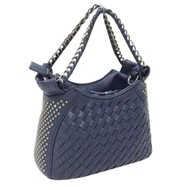 Stylish Rivets and Chains Design Women's Tote Bag - DEEP BLUE