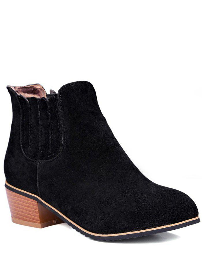 Concise Chunky Heel and Elastic Band Design Women's Ankle Boots