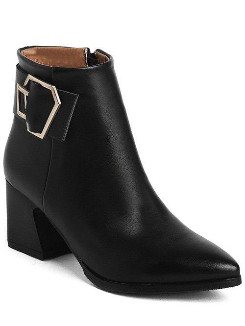 Retro Buckle and Pointed Toe Design Women's Ankle Boots