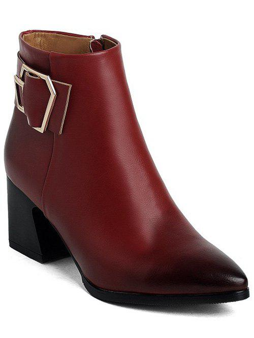 Pointed Toe Buckle Strap Ankle Boots - WINE RED 38