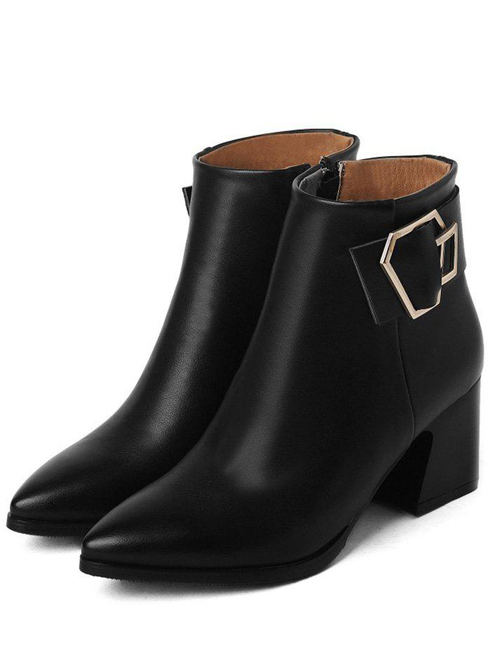 Pointed Toe Buckle Strap Ankle Boots - BLACK 39