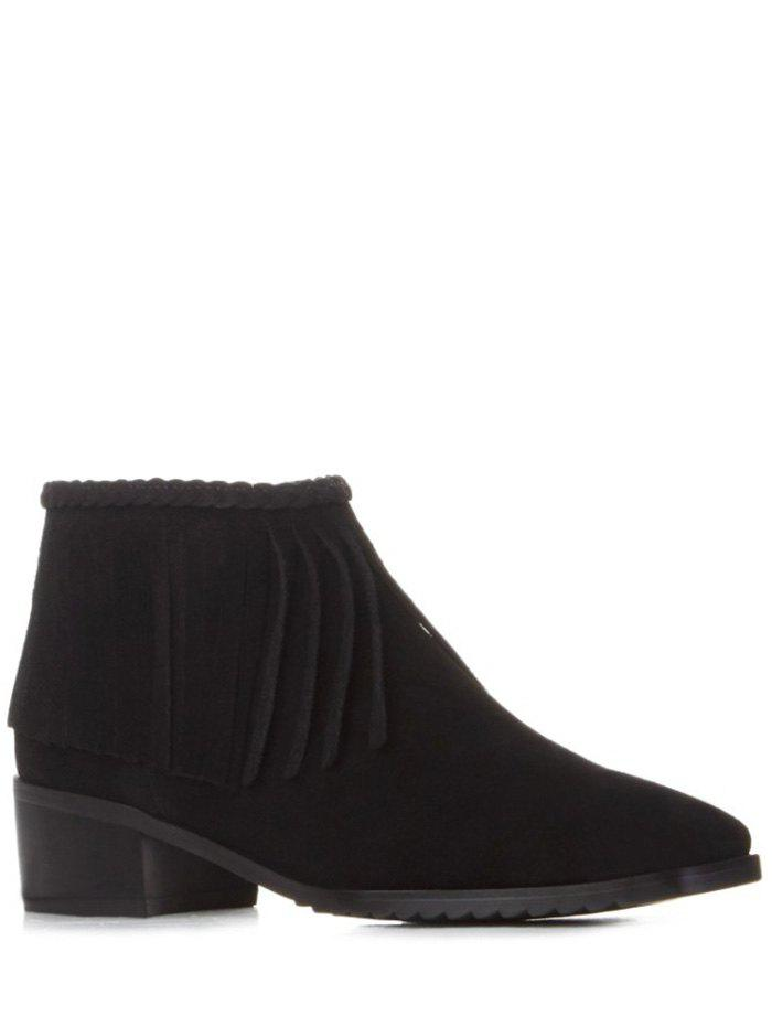 Trendy Fringe and Square Toe Design Women's Ankle Boots