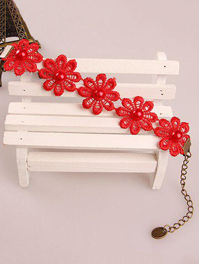 Stylish Daisy Faux Pearl Lace Bracelet - RED