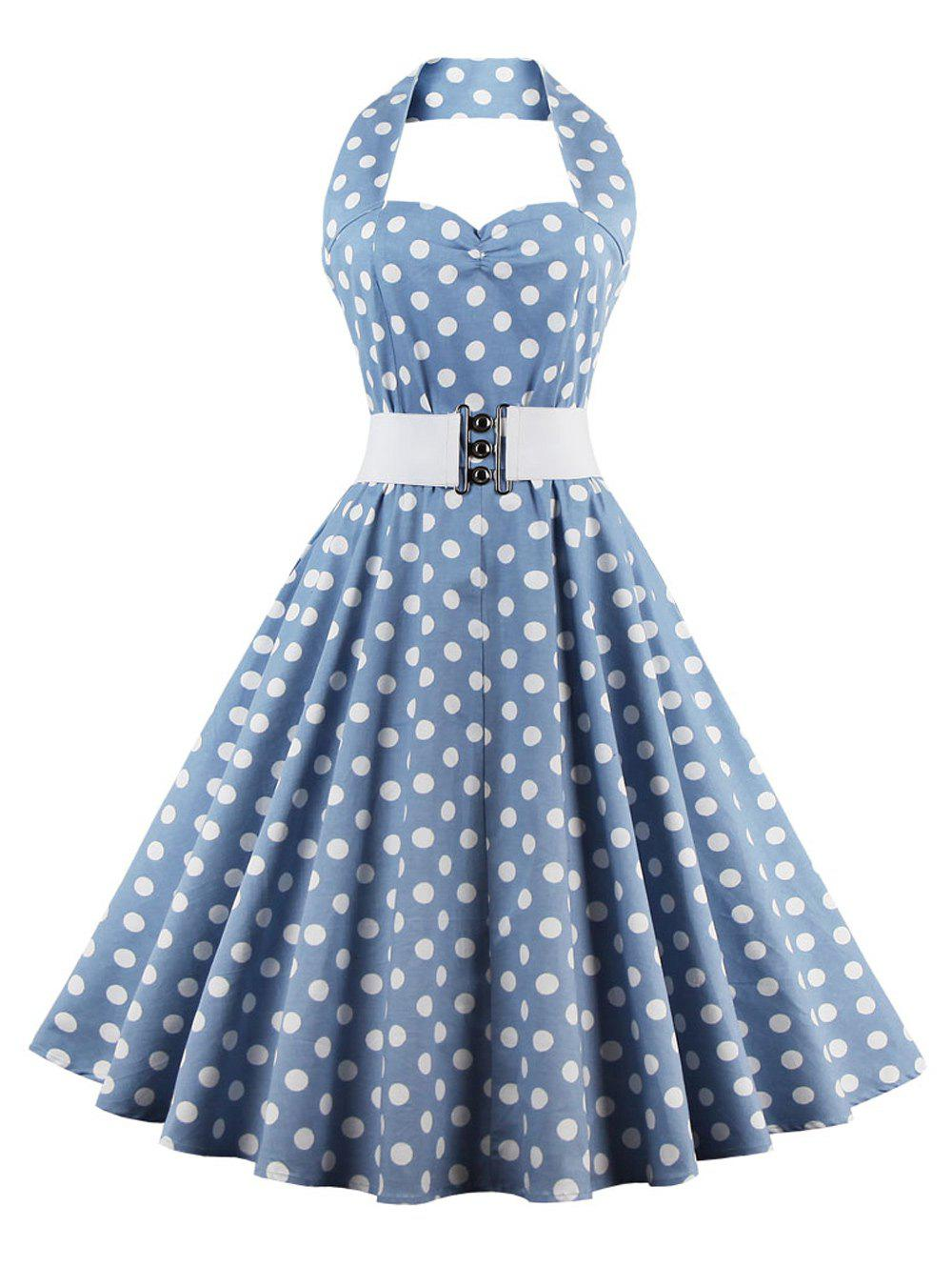 Retro Halter Sweetheart Neck Polka Dot Flare Dress - LIGHT BLUE 4XL