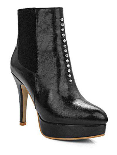 Trendy Rivet and Platform Design Women's Short Boots - BLACK 39