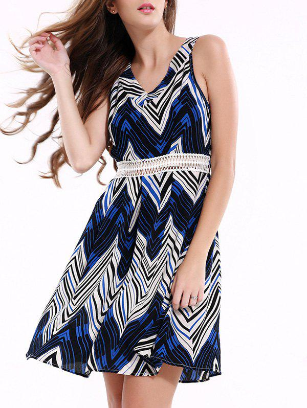 Stylish Sleeveless Zig Zag Dress For Women - BLUE 2XL