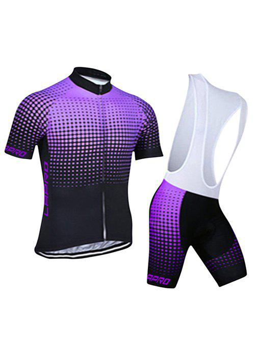 Chic 3D Printed Short Sleeves Jacket + Spliced Bibshort Cycling Jerseys Twinset For Men - PURPLE 3XL