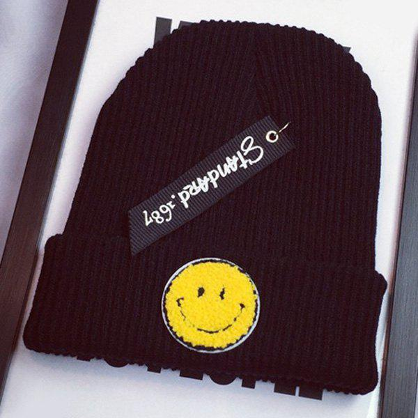 Stylish Smile Face Flocking and Letters Cloth Pendant Design Women's Knitted Beanie - BLACK