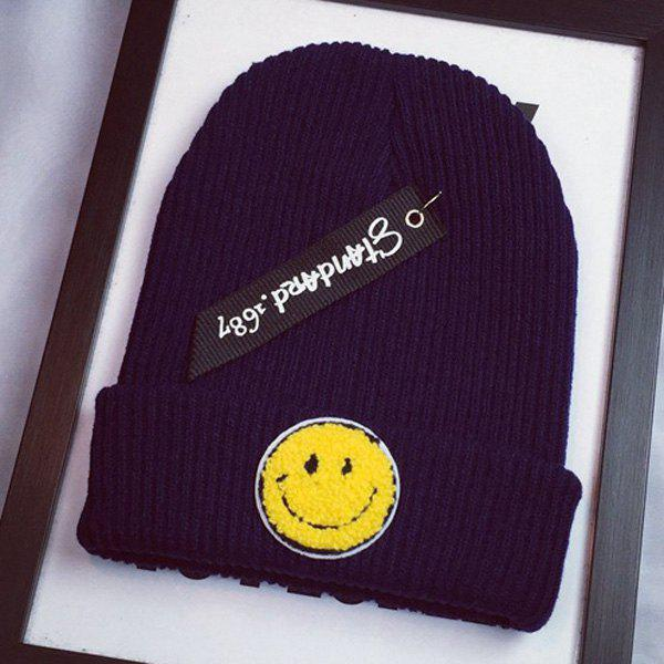 Stylish Smile Face Flocking and Letters Cloth Pendant Design Women's Knitted Beanie