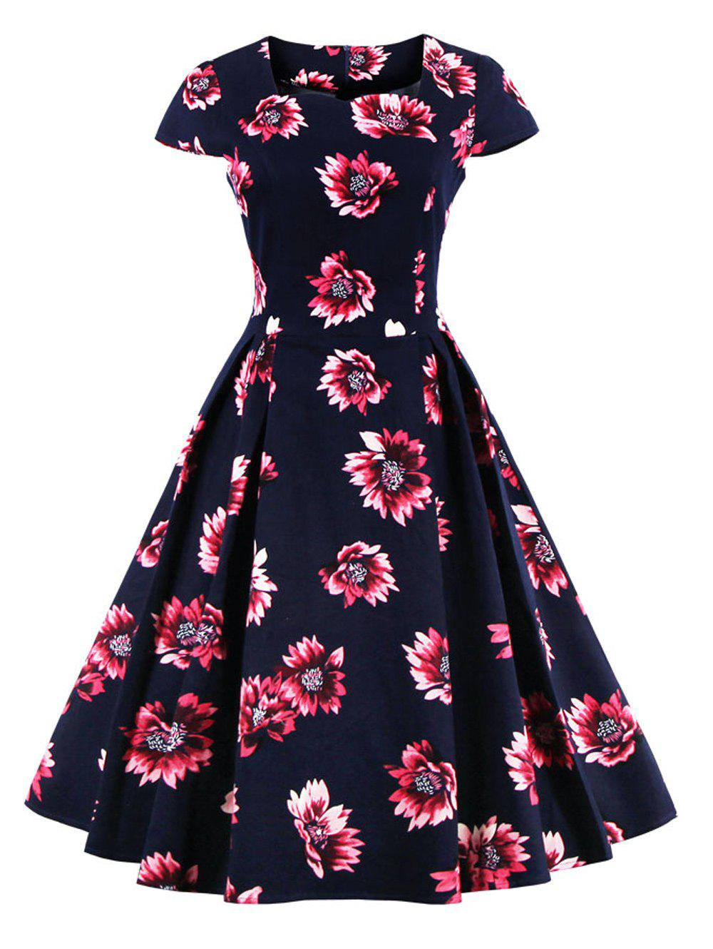 Retro Sweetheart Neck Cape Sleeve Floral Print Skater Dress - PURPLISH BLUE L