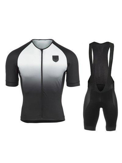 Gradient Color Short Sleeves Jacket + Black Bibshort Cycling Jerseys Twinset For Men - WHITE 3XL