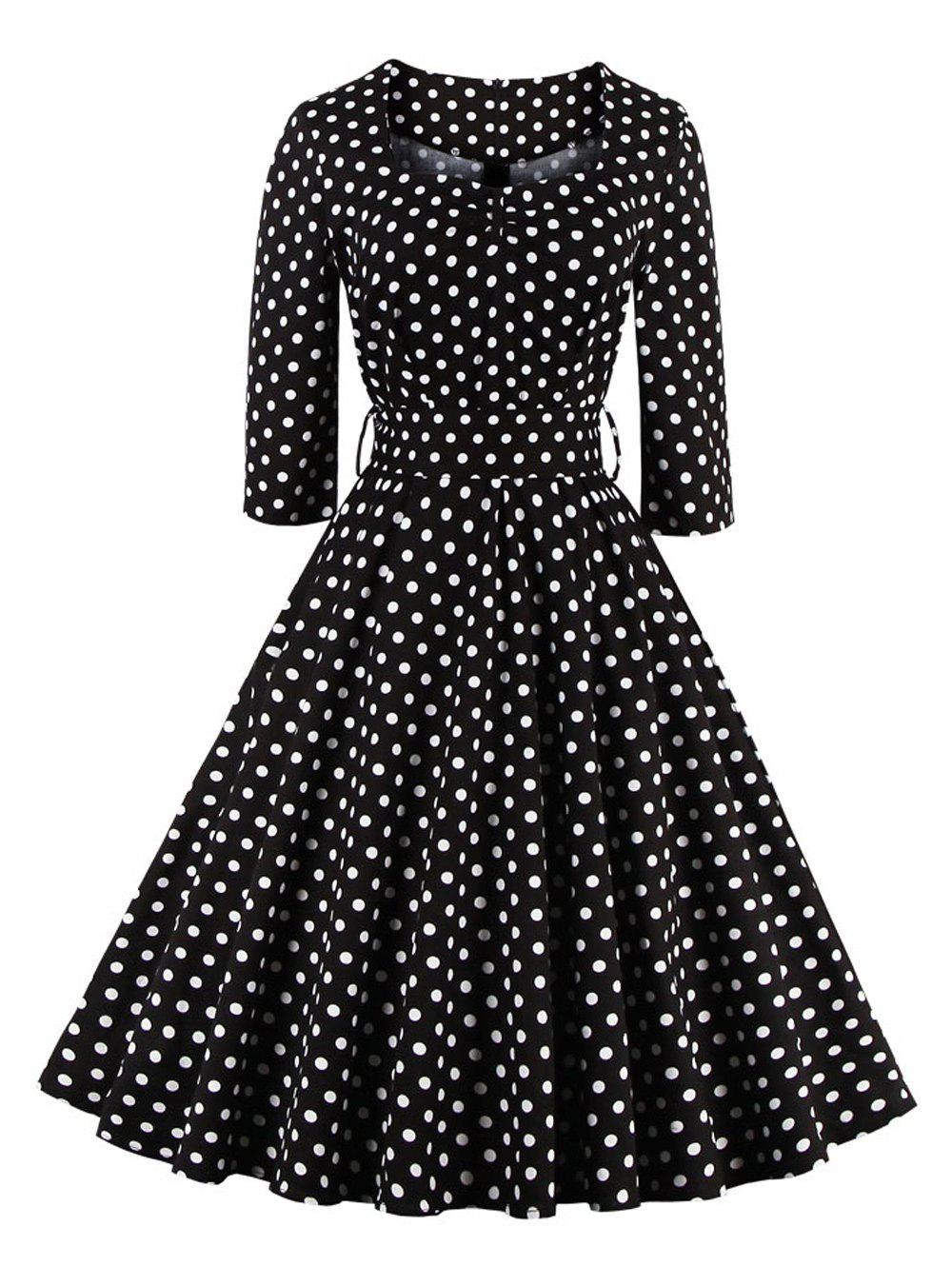 Retro Sweetheart Neck Polka Dot Printed Swing Flare Dress - BLACK M