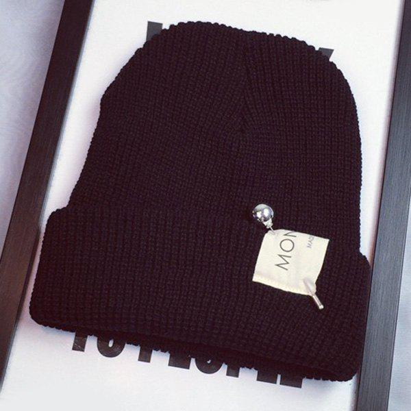 Stylish Ball Safty Pin and Letters Applique Embellished Women's Knitted Beanie - BLACK