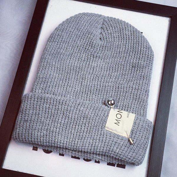 Stylish Ball Safty Pin and Letters Applique Embellished Women's Knitted Beanie - LIGHT GRAY