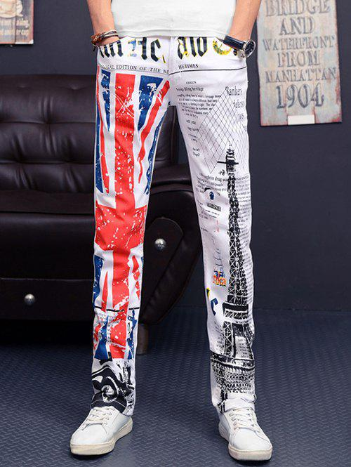 Flag and Tower Print Slim Fit Casual Pants For Men - WHITE 42