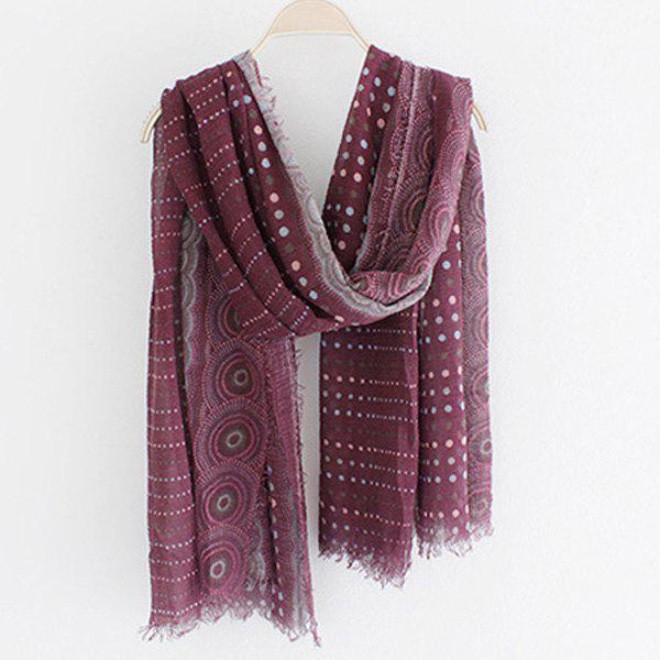 Chic Yunnan Ethnic Style Polka Dot Pattern Fringed Women's Voile Scarf - WINE RED