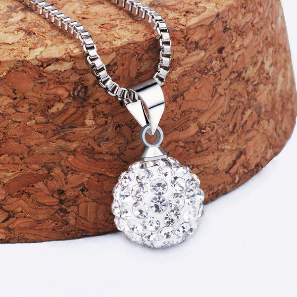 Adorn Ball Rhinestoned Necklace - SILVER