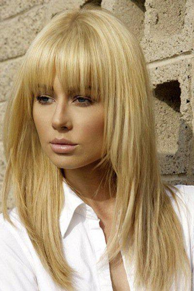 Graceful Long Golden Ombre Human Hair Straight Full Bang Capless Wig For Women - COLORMIX